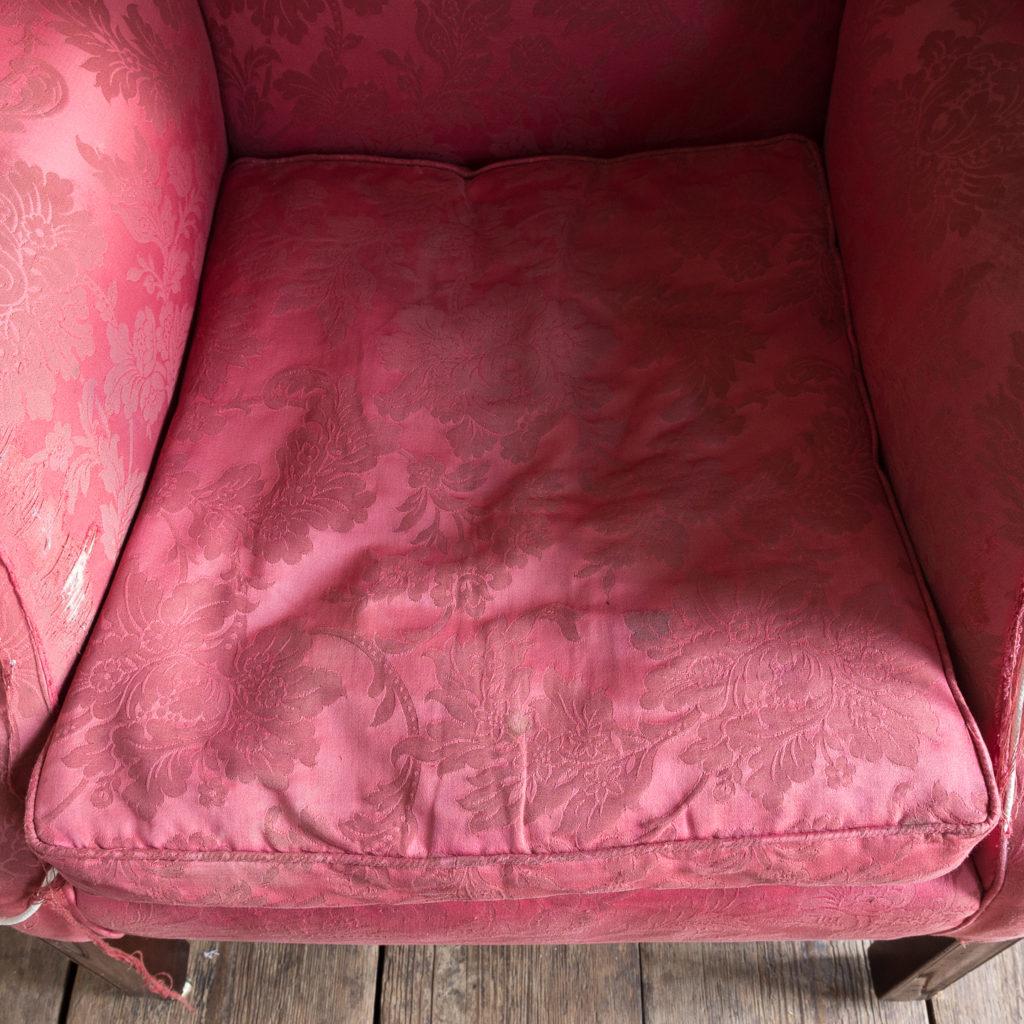 George III mahogany wingback armchair,-138263