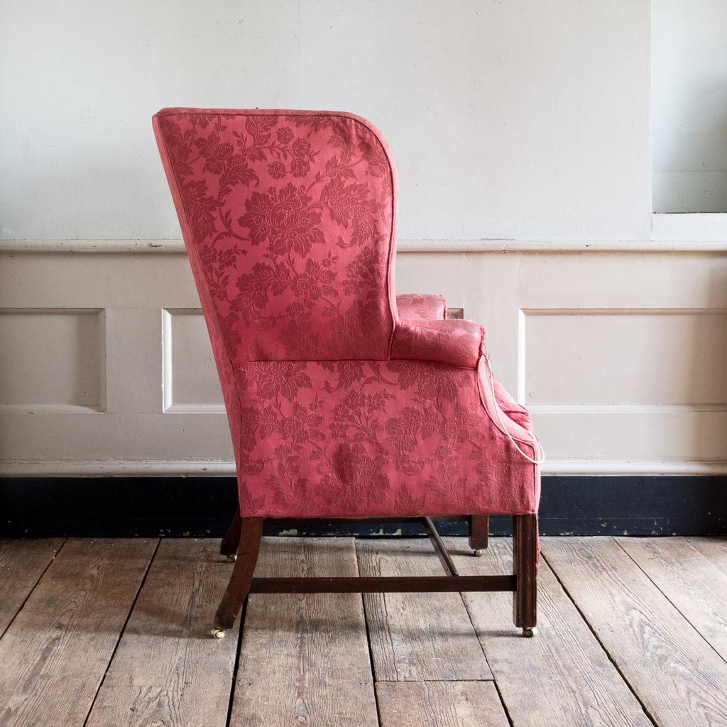 George III mahogany wingback armchair,-138252