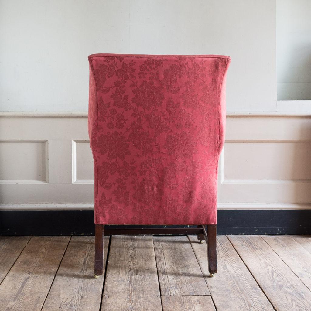 George III mahogany wingback armchair,-138253