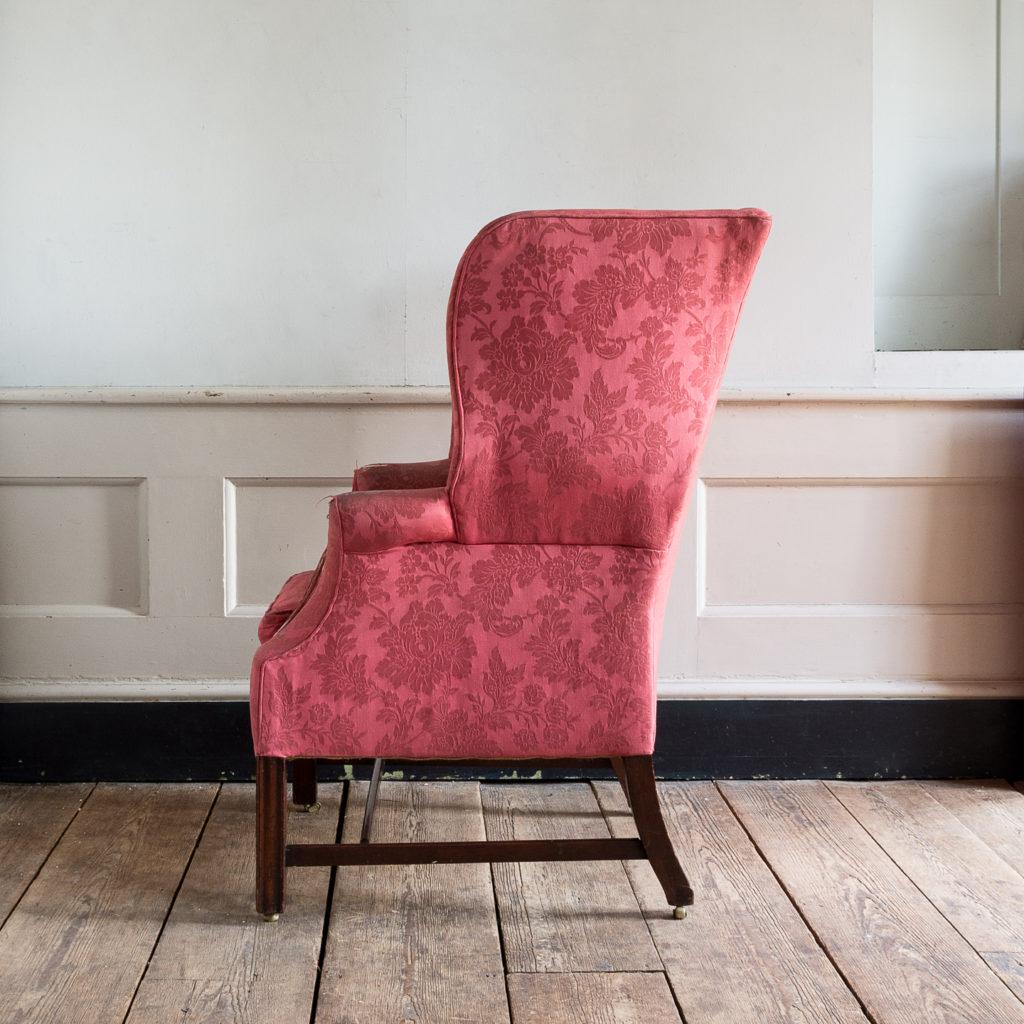 George III mahogany wingback armchair,-138255