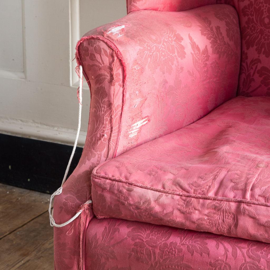 George III mahogany wingback armchair,-138256