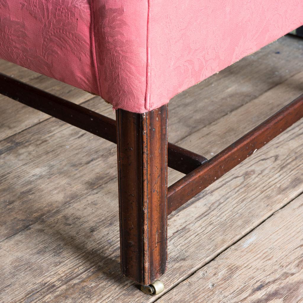 George III mahogany wingback armchair,-138257
