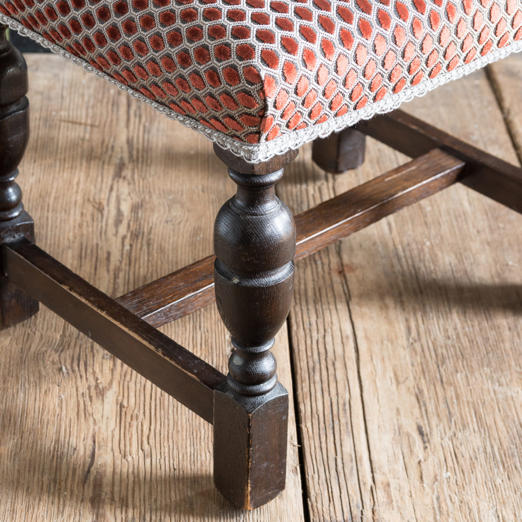 Jacobean revival oak foot stool,-138529
