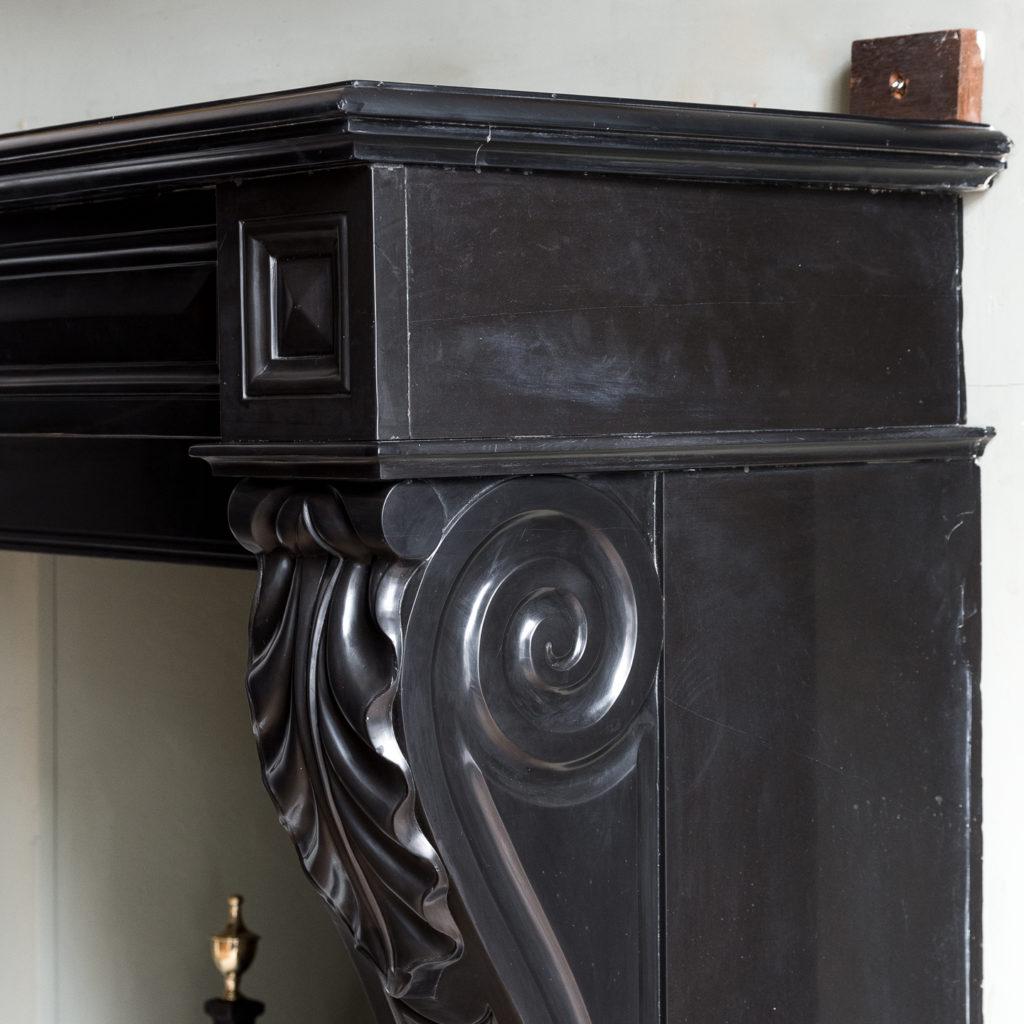 French Napoleon III Belgian Black marble chimneypiece,-138392