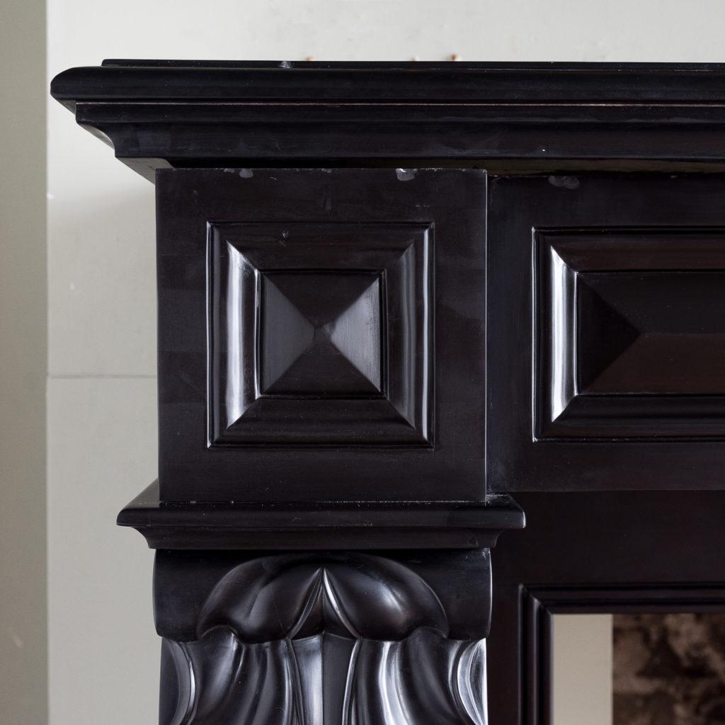 French Napoleon III Belgian Black marble chimneypiece,-138398