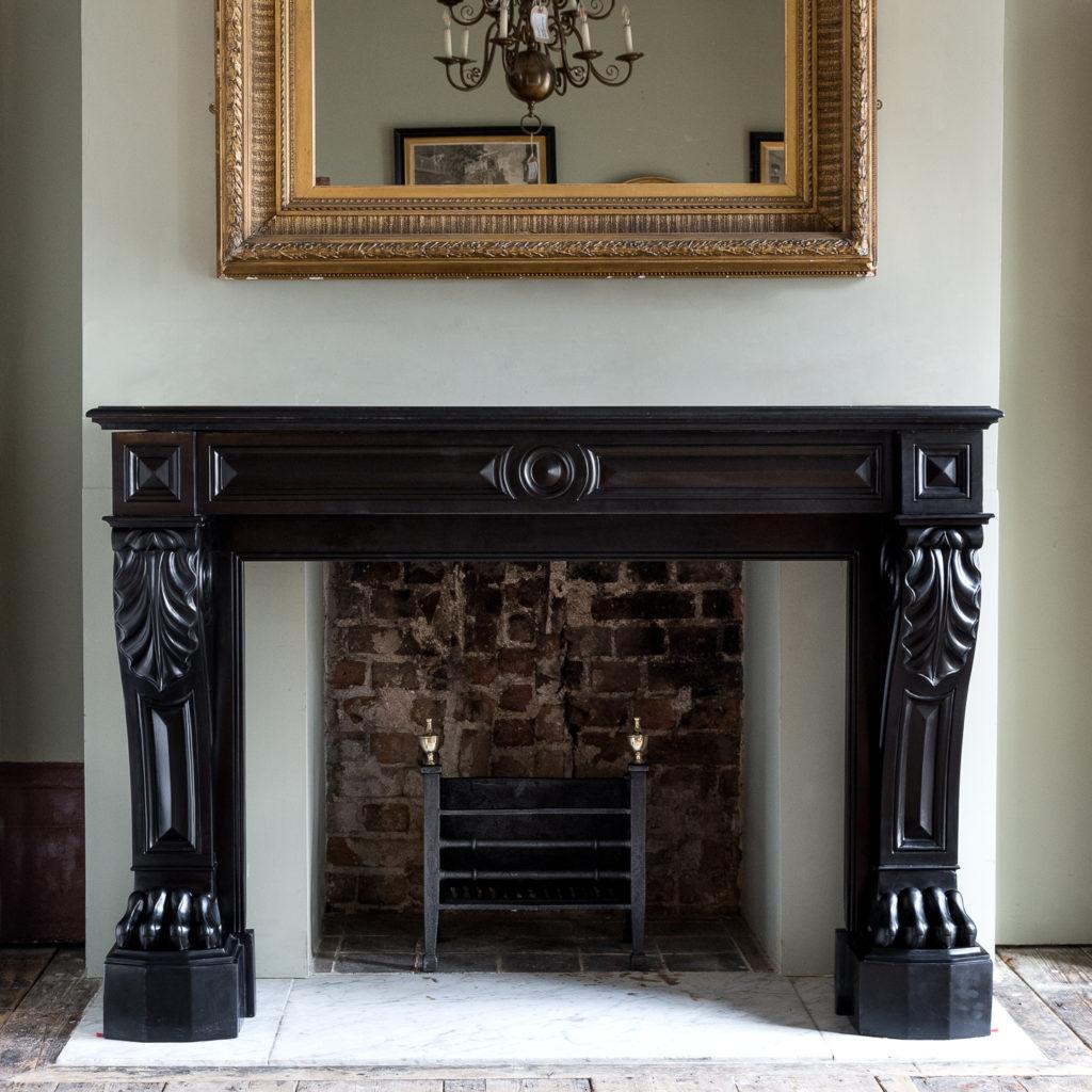 French Napoleon III Belgian Black marble chimneypiece