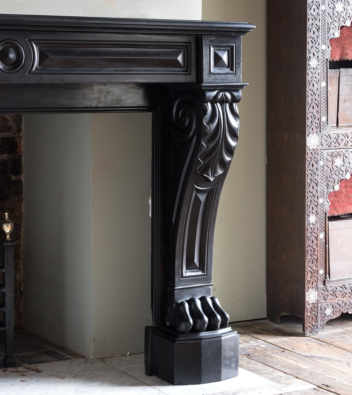 French Napoleon III Belgian Black marble chimneypiece,-138387
