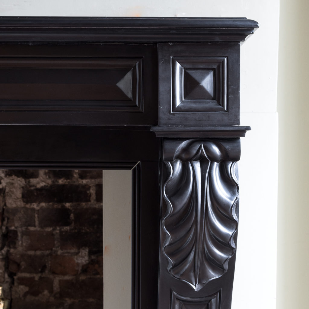 French Napoleon III Belgian Black marble chimneypiece,-138390