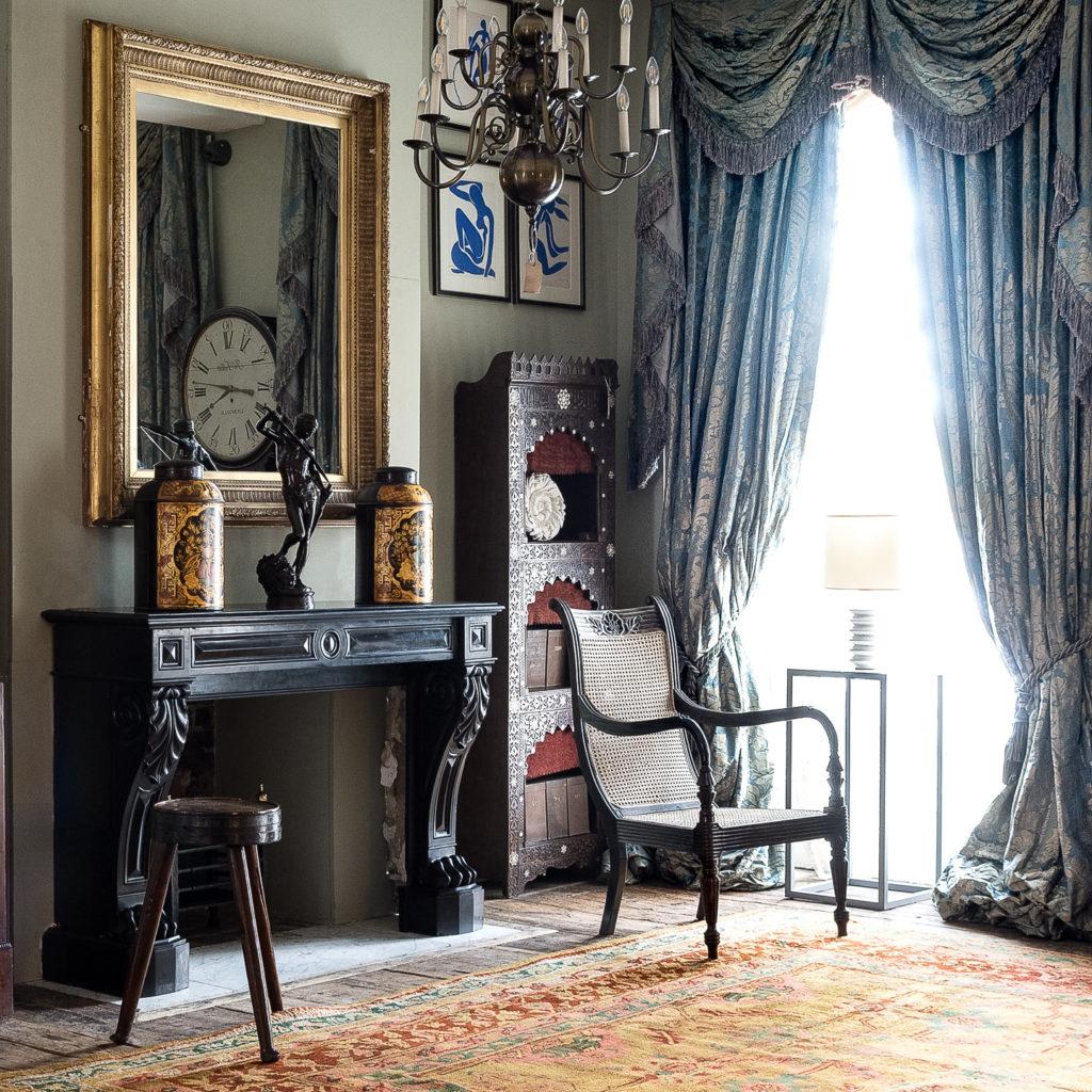 French Napoleon III Belgian Black marble chimneypiece,-138403