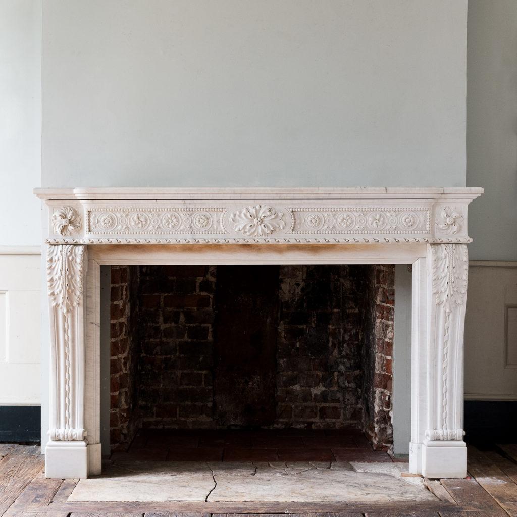 Louis XVI Carrara marble fireplace,