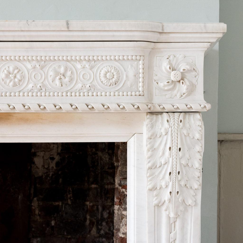 Fine Louis XVI Carrara marble fireplace, -138446