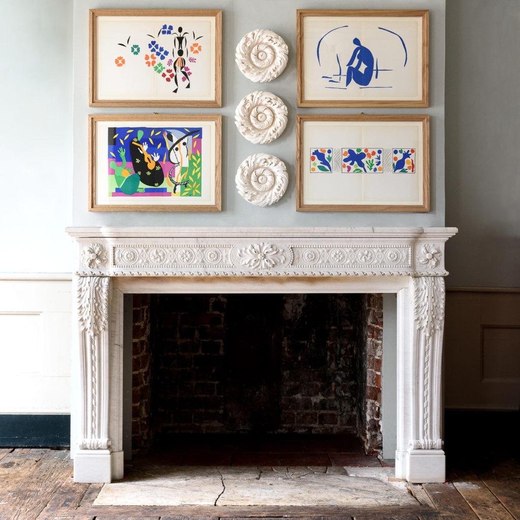 Fine Louis XVI Carrara marble fireplace,