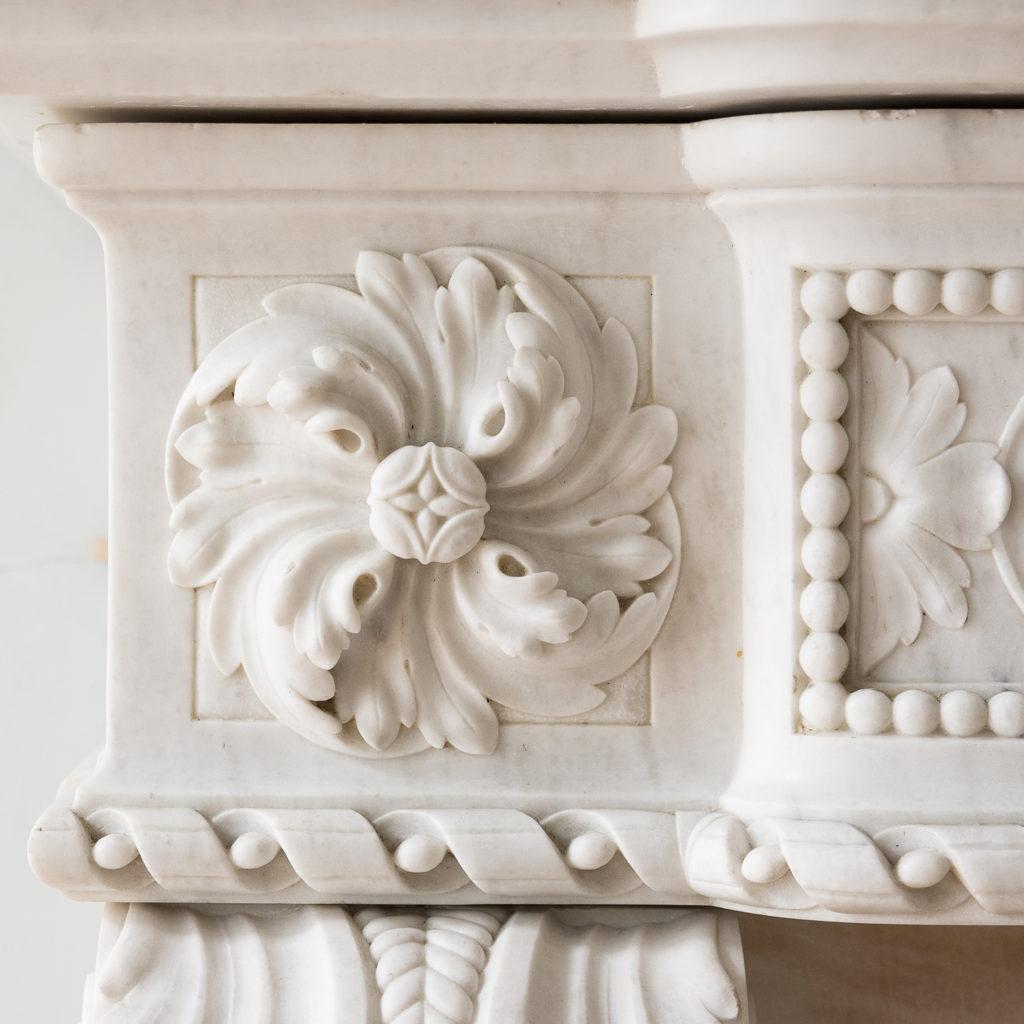 Fine Louis XVI Carrara marble fireplace, -138444
