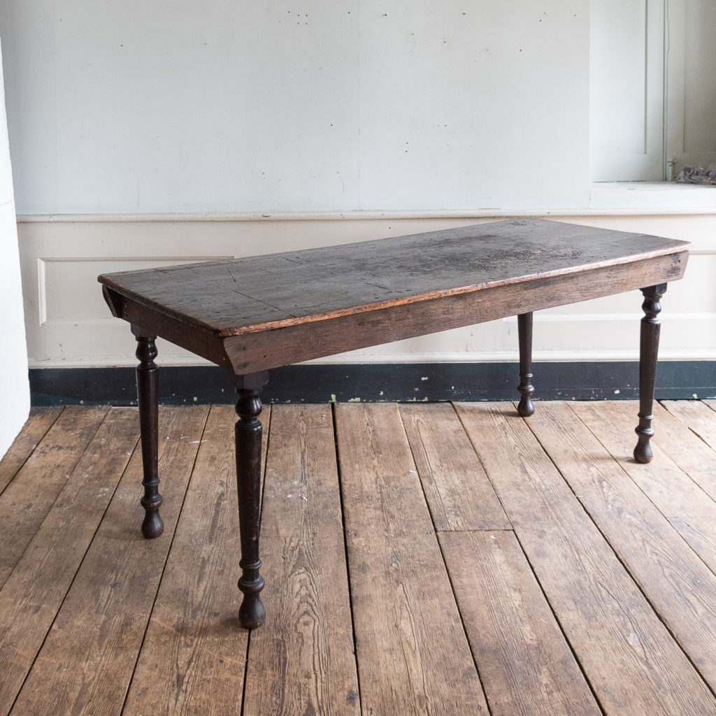 Victorian stained pine and oak kitchen table