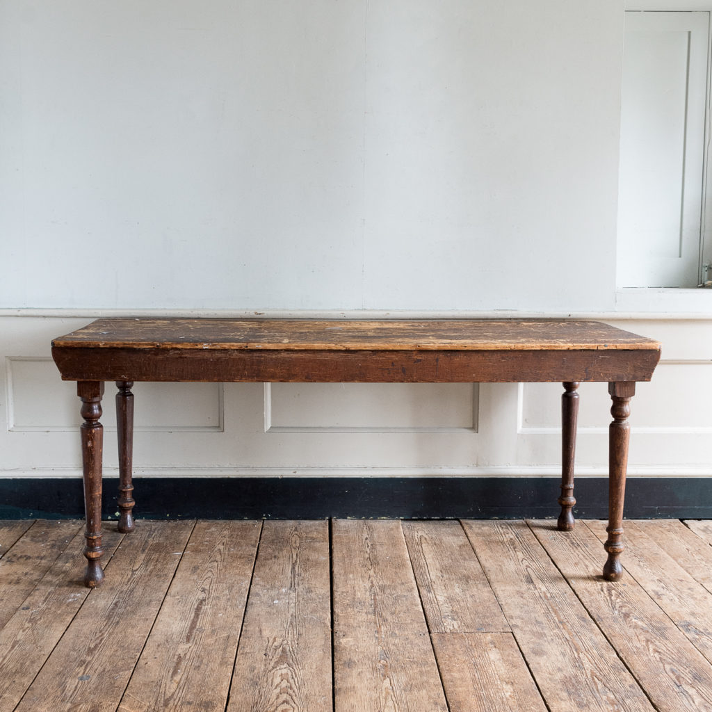 Victorian oak and pine table,-0