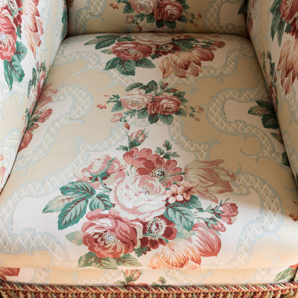 Pair of Victorian chintz upholstered armchairs, -138641