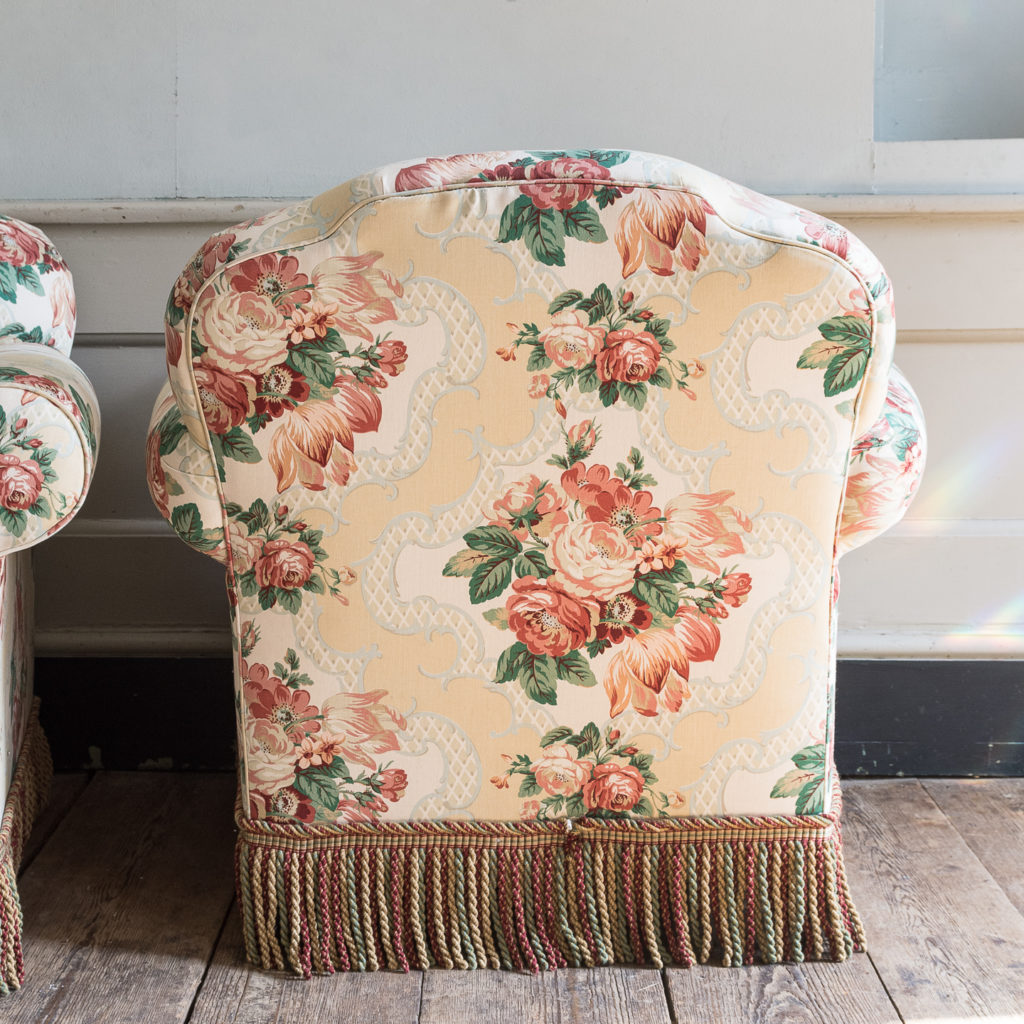Pair of Victorian chintz upholstered armchairs, -138643