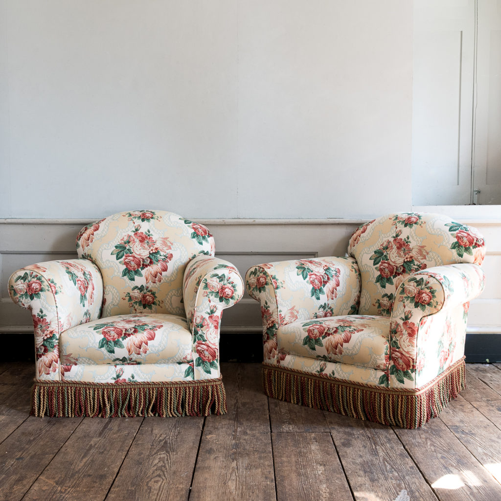 Pair of Victorian chintz upholstered armchairs,