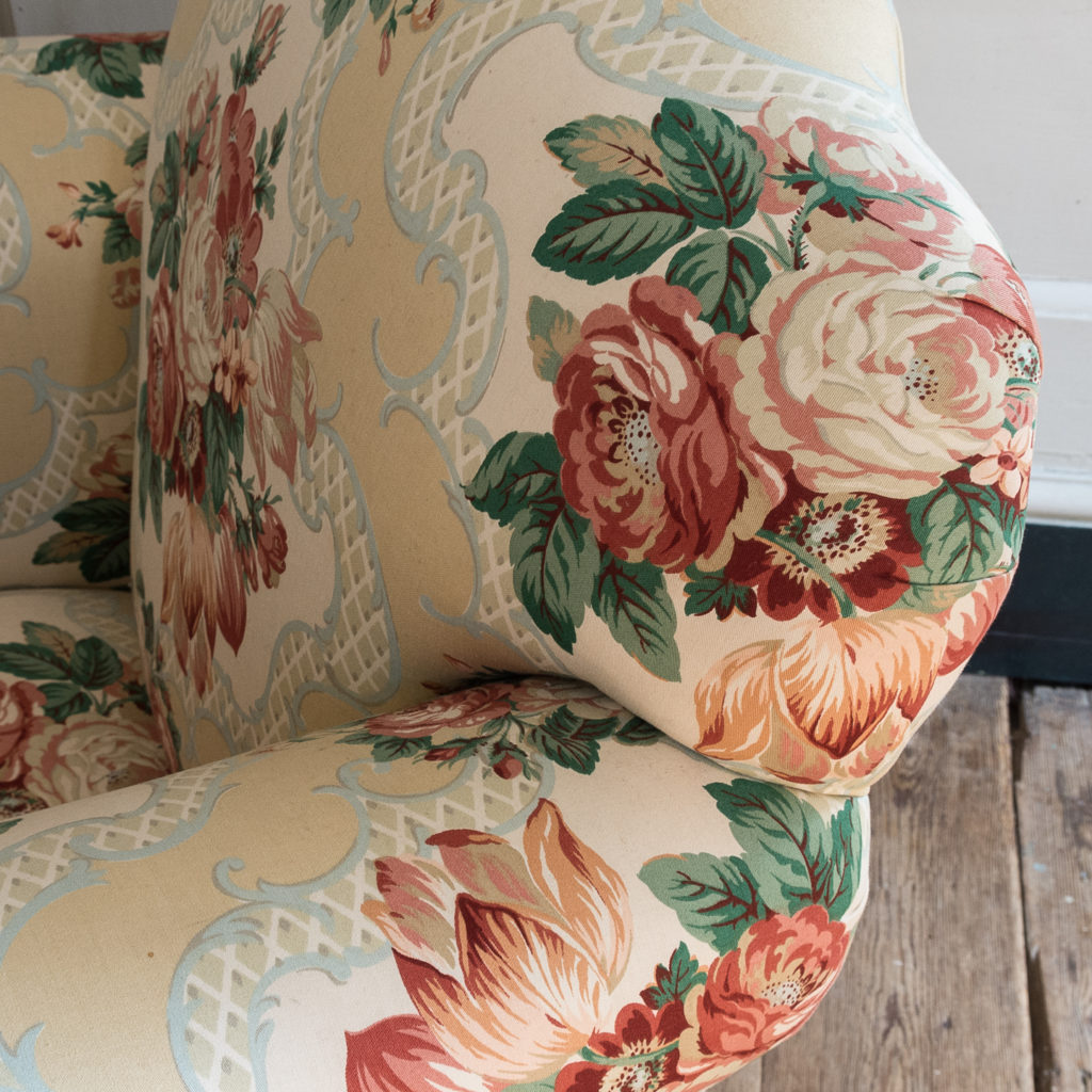 Pair of Victorian chintz upholstered armchairs, -138646