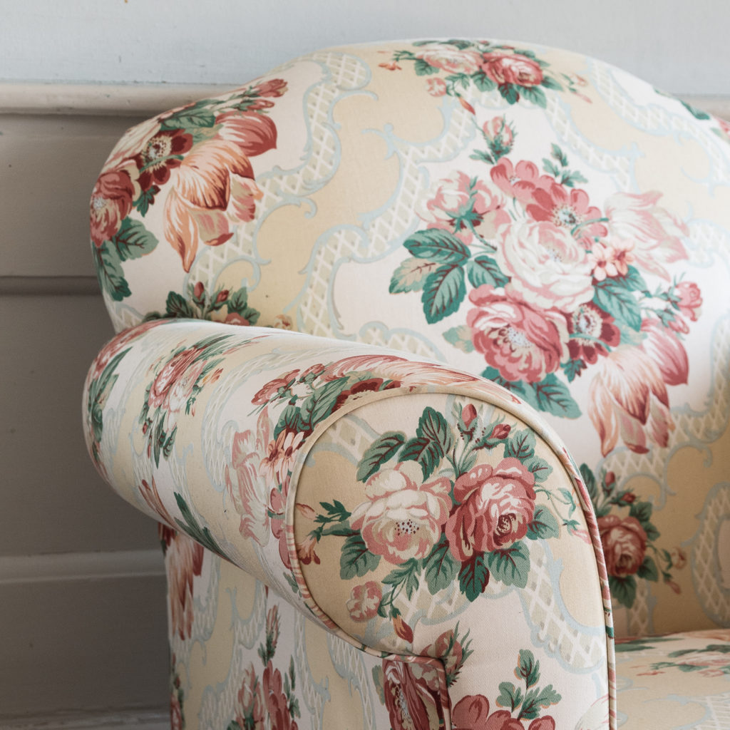 Pair of Victorian chintz upholstered armchairs, -138633