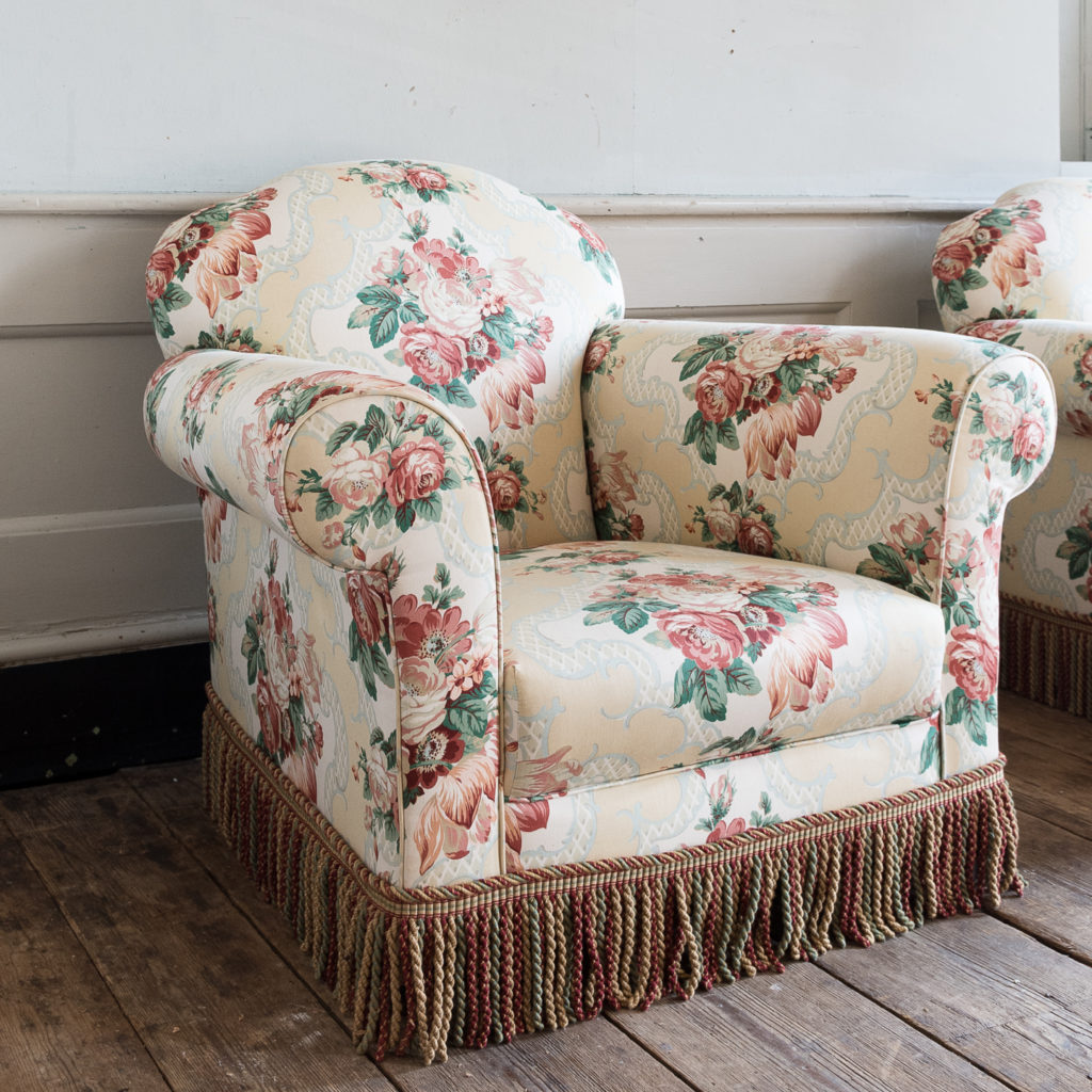 Pair of Victorian chintz upholstered armchairs, -138635