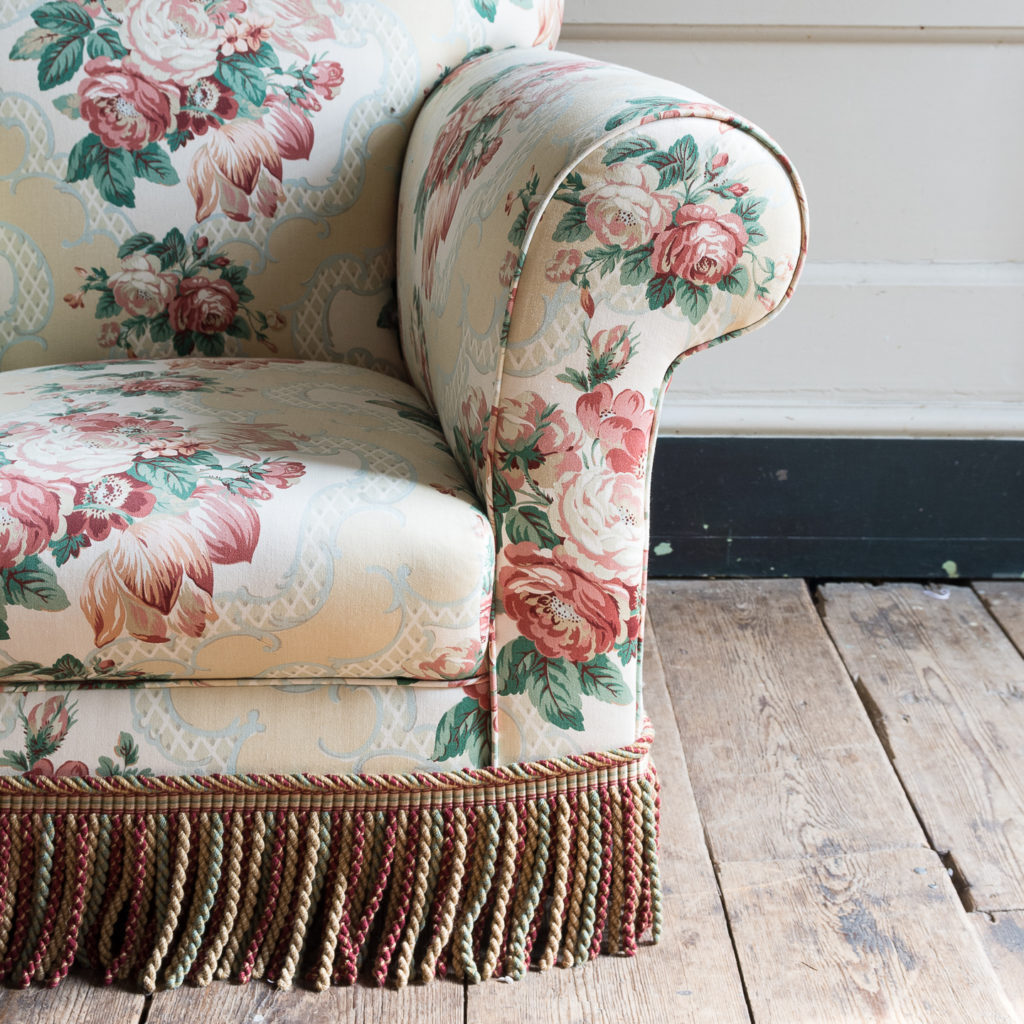 Pair of Victorian chintz upholstered armchairs, -138637