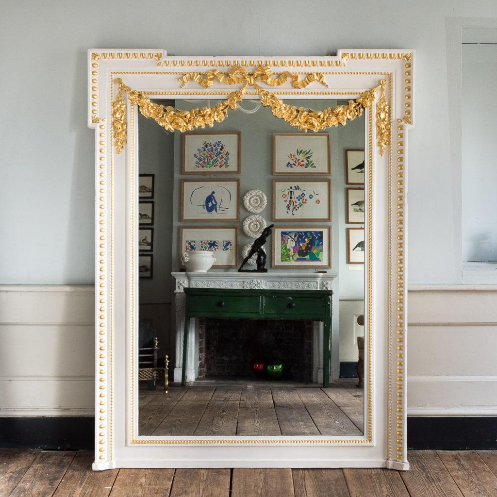 Louis XVI style French parcel-gilt boiserie mirror,