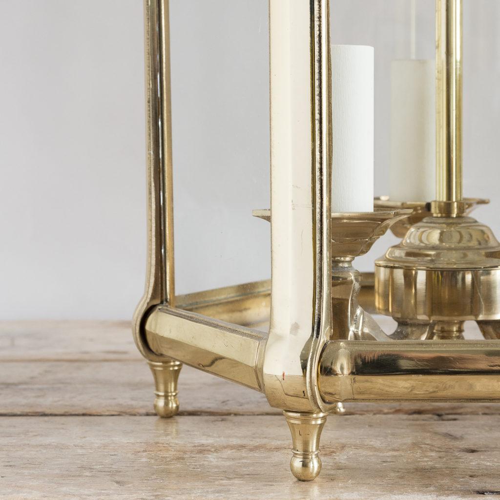 Pair of Georgian style brass hall lanterns,-138221