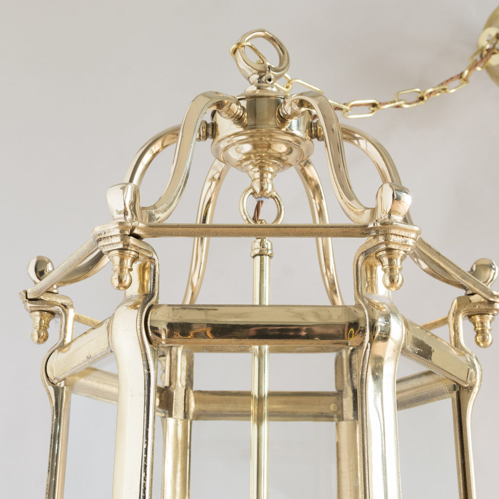 Pair of Georgian style brass hall lanterns,-138223