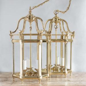 Pair of Georgian style brass hall lanterns,