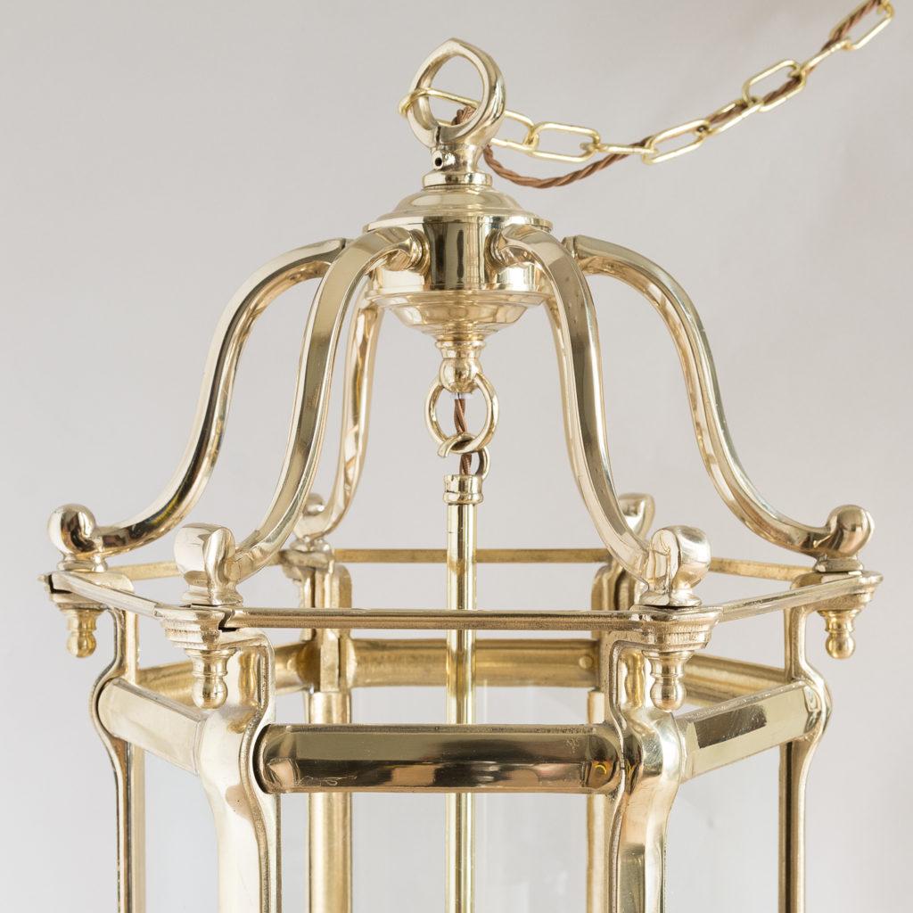 Pair of Georgian style brass hall lanterns,-138219