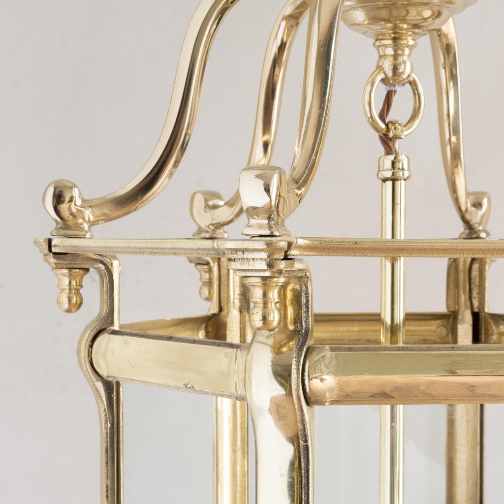 Pair of Georgian style brass hall lanterns,-138220
