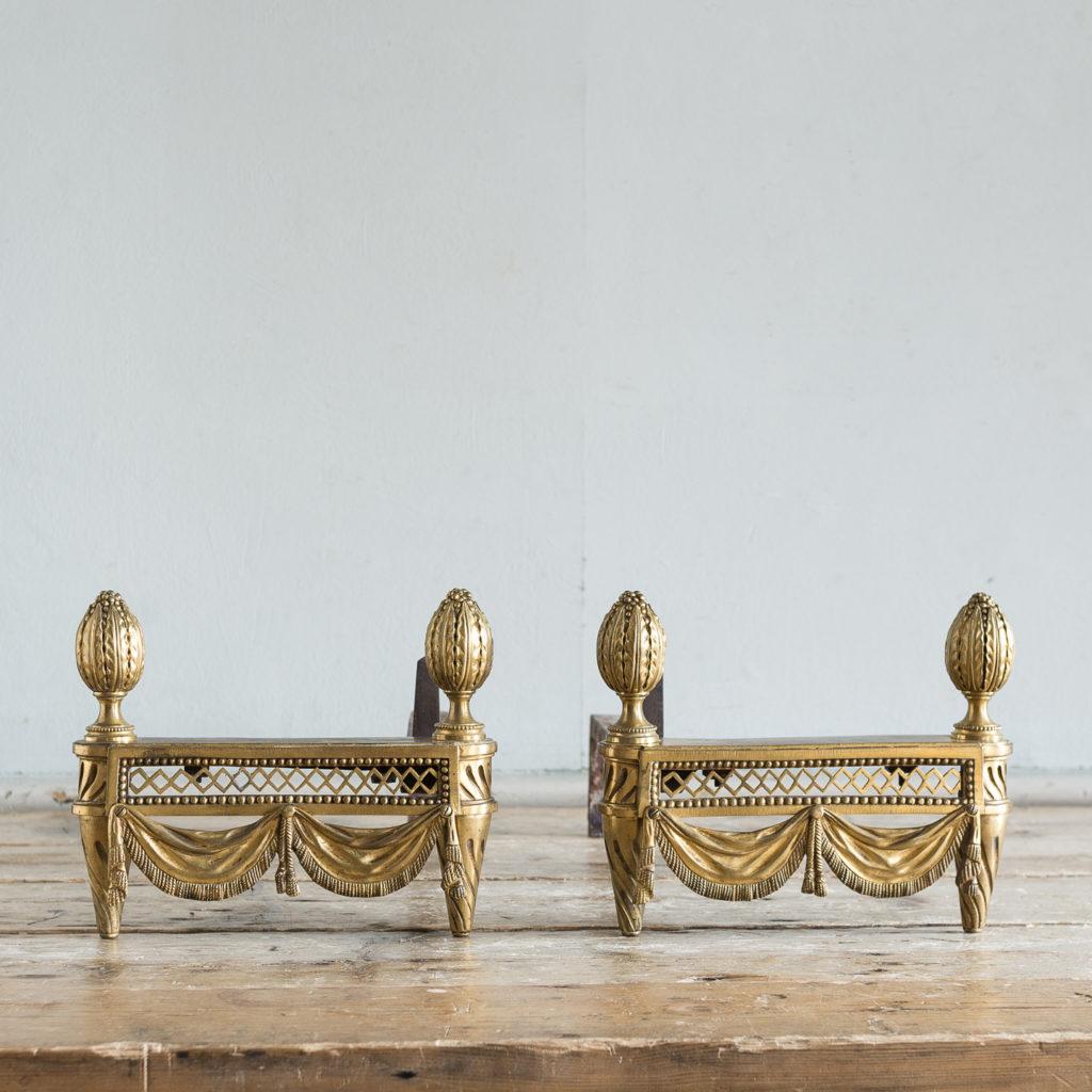 Pair of Louis XVI style Bouhon Freres gilt bronze chenets,