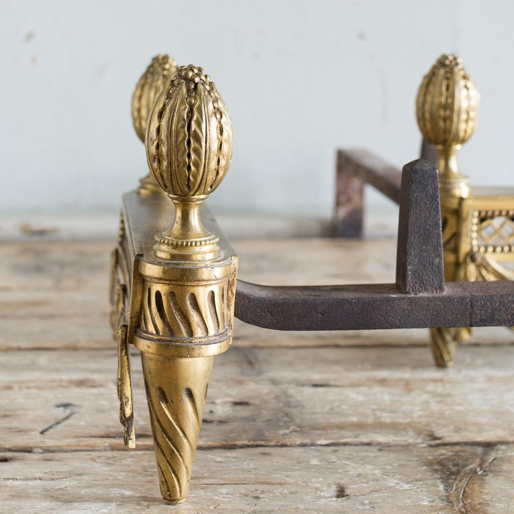 Pair of Louis XVI style Bouhon Freres gilt bronze chenets,-138678
