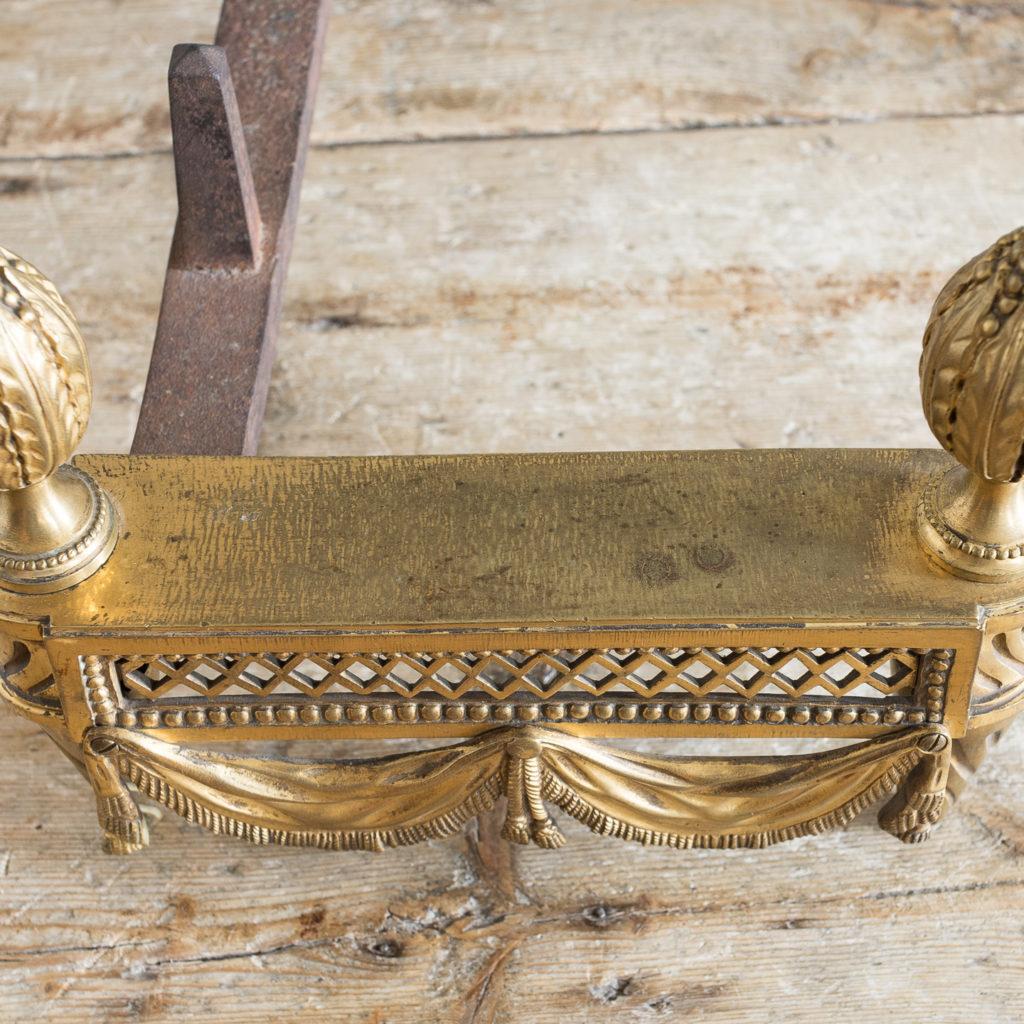 Pair of Louis XVI style Bouhon Freres gilt bronze chenets,-138683