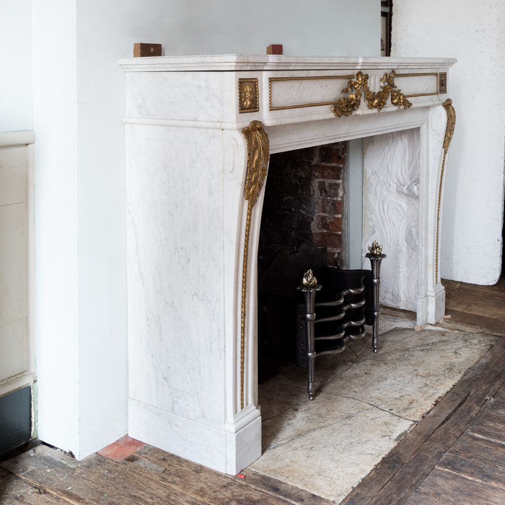 Pair of Louis XVI style Carrara marble and ormolu mounted fireplaces,-138364