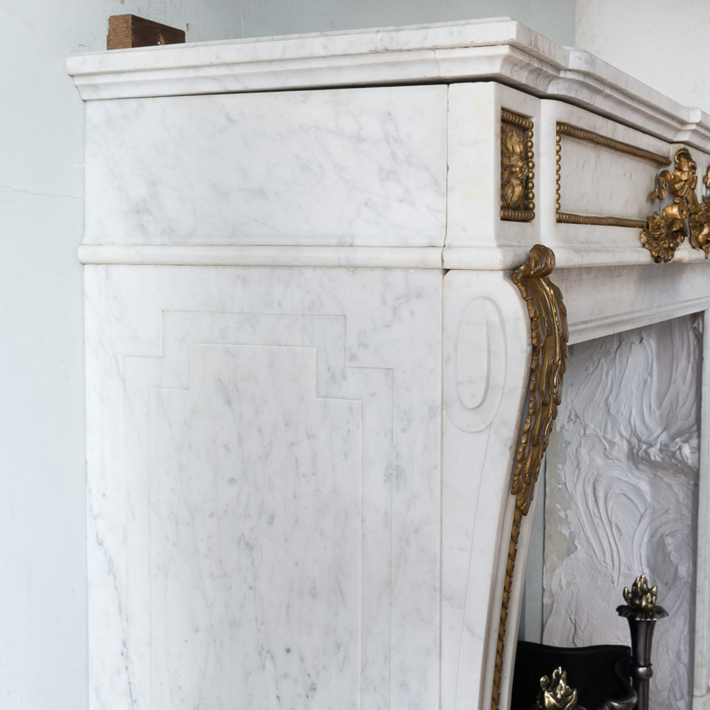 Pair of Louis XVI style Carrara marble and ormolu mounted fireplaces,-138363