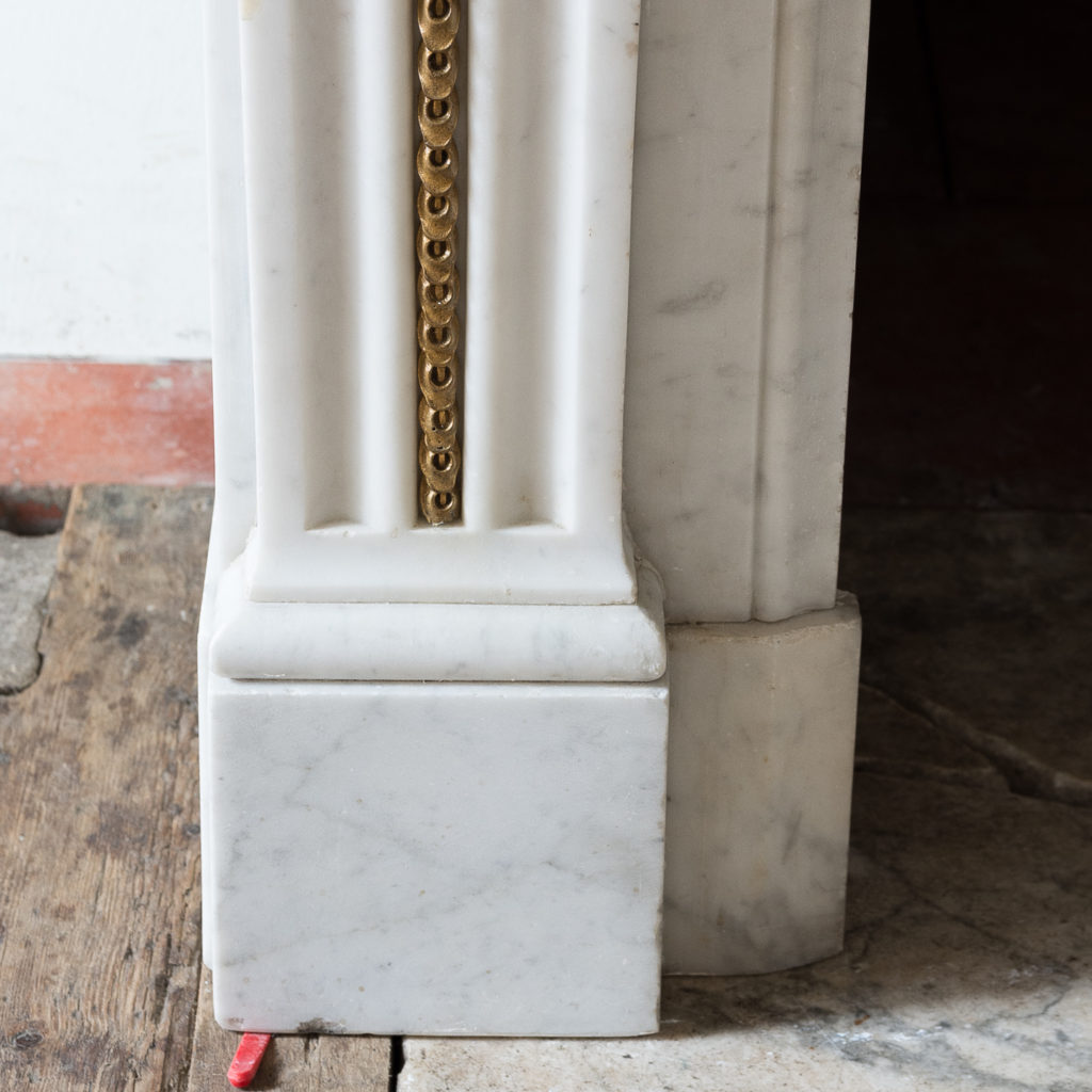Pair of Louis XVI style Carrara marble and ormolu mounted fireplaces,-138365