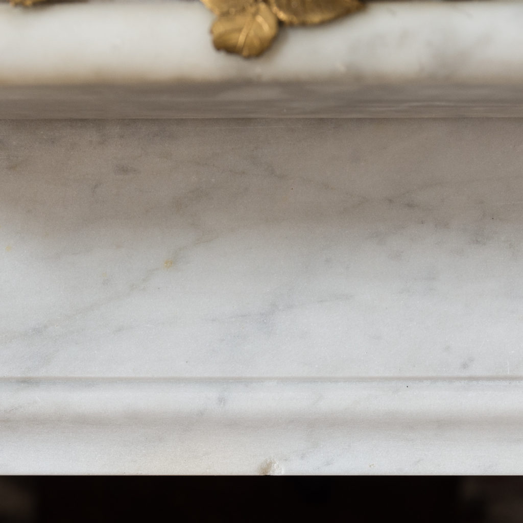 Pair of Louis XVI style Carrara marble and ormolu mounted fireplaces,-138368