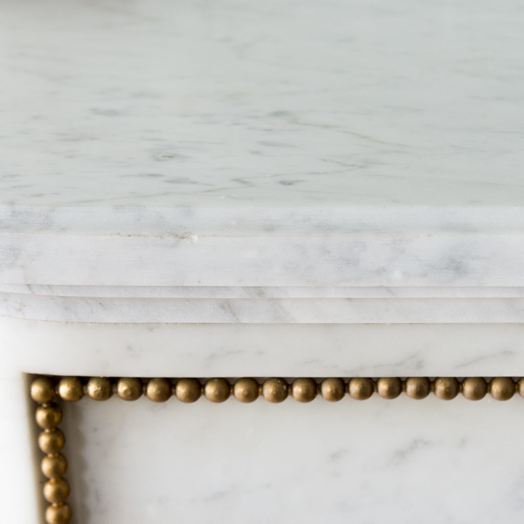 Pair of Louis XVI style Carrara marble and ormolu mounted fireplaces,-138369