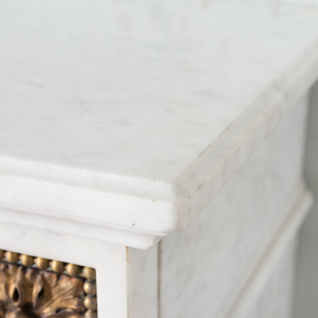Pair of Louis XVI style Carrara marble and ormolu mounted fireplaces,-138370