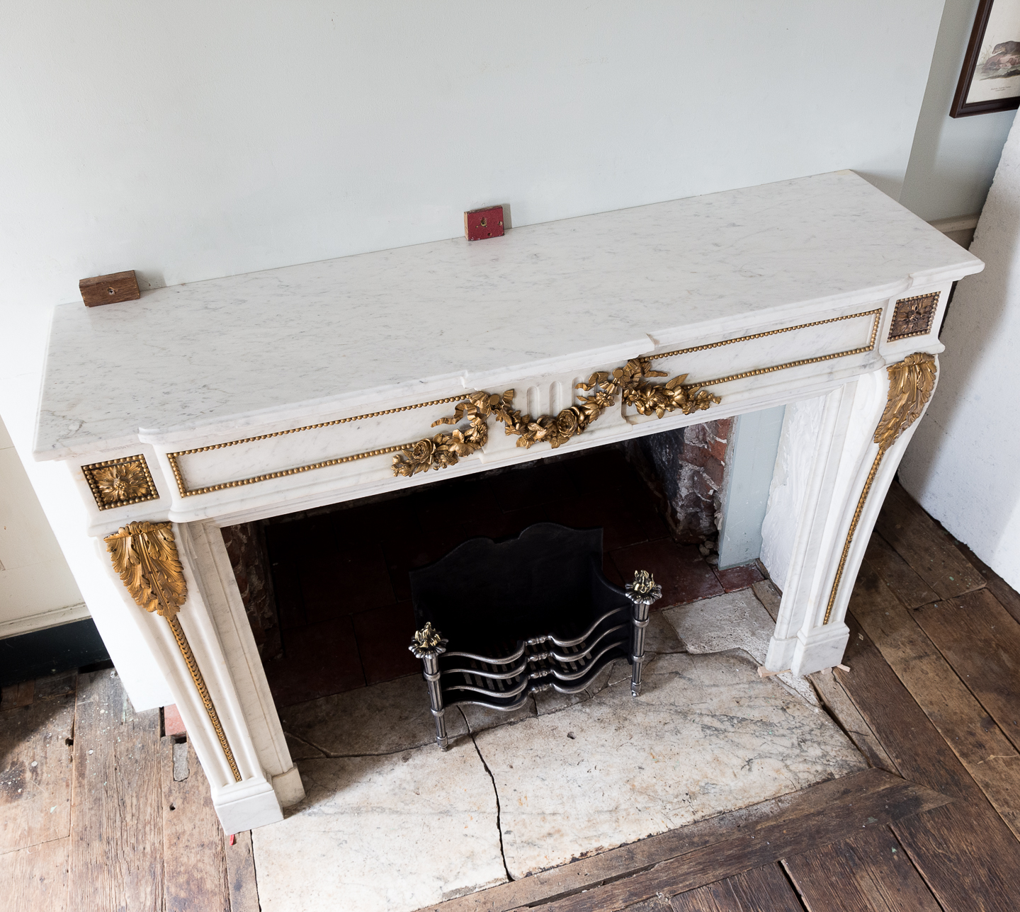 Pair of Louis XVI style Carrara marble and ormolu mounted fireplaces,-138373