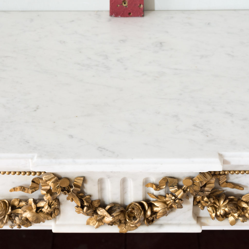 Pair of Louis XVI style Carrara marble and ormolu mounted fireplaces,-138372