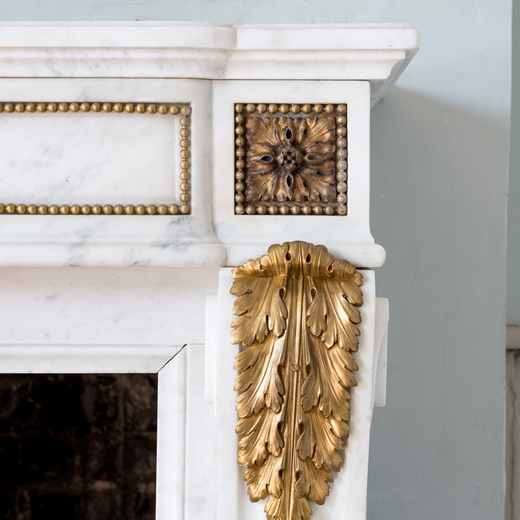 Pair of Louis XVI style Carrara marble and ormolu mounted fireplaces,-138356
