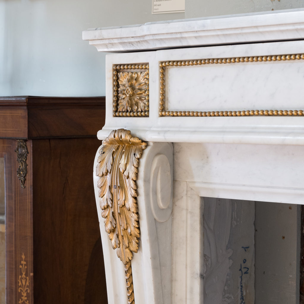 Pair of Louis XVI style Carrara marble and ormolu mounted fireplaces,-138357