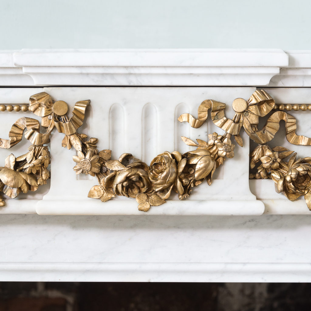 Pair of Louis XVI style Carrara marble and ormolu mounted fireplaces,-138361