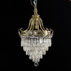 Regency style cut glass and brass waterfall chandelier,