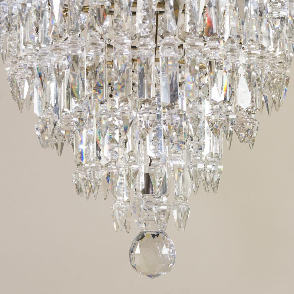 Regency style cut glass and brass waterfall chandelier, -138886