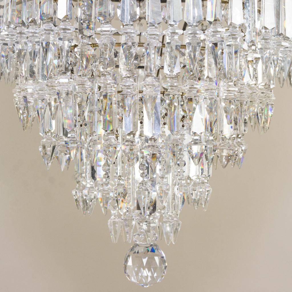 Regency style cut glass and brass waterfall chandelier, -138887