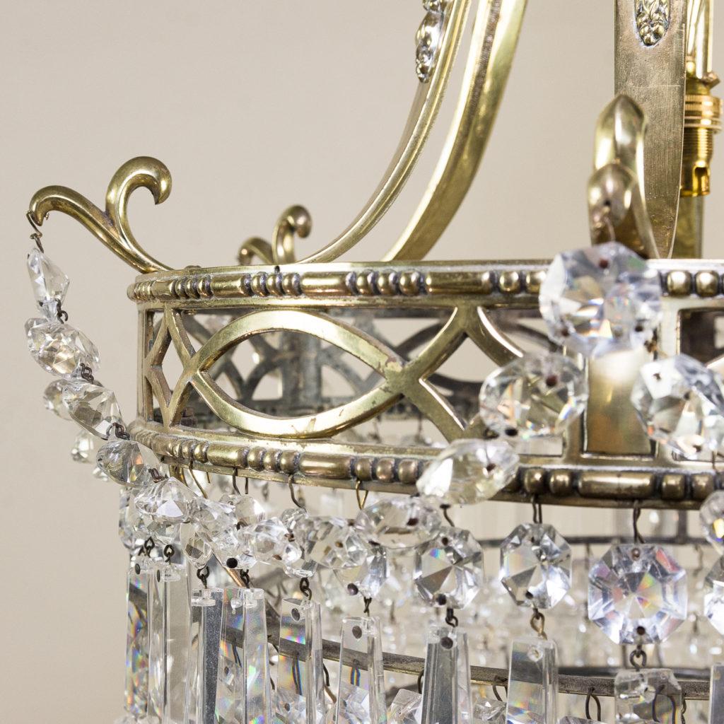 Regency style cut glass and brass waterfall chandelier, -138889